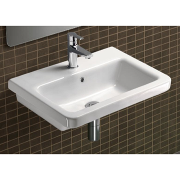 32 Inch Rectangular Ceramic Wall Mounted or Self Rimming Bathroom Sink