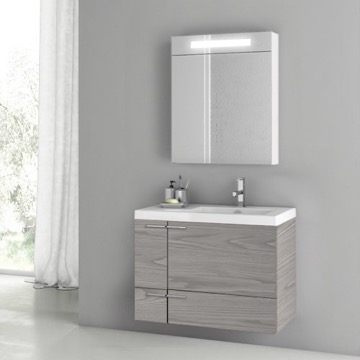 31 Inch Grey Walnut Bathroom Vanity Set