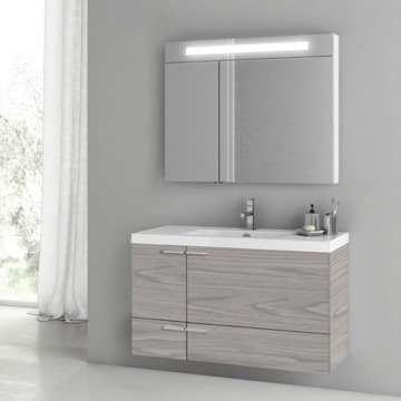 39 Inch Grey Walnut Bathroom Vanity with Fitted Ceramic Sink, Wall Mounted, Lighted Medicine Cabinet Included