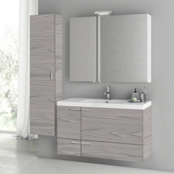 39 Inch Grey Walnut Bathroom Vanity Set