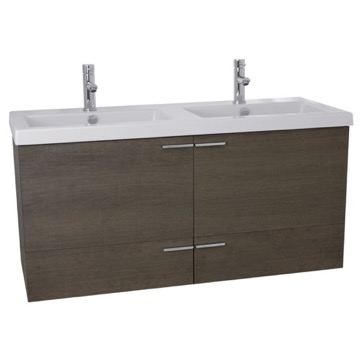 47 Inch Grey Oak Bathroom Vanity Set, Double Sink