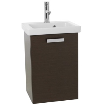 17 Inch Small Wenge Wall Mounted Bathroom Vanity with Fitted Sink