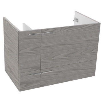 31 Inch Wall Mount Grey Walnut Bathroom Vanity Cabinet