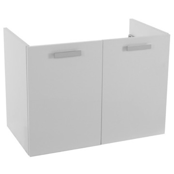 30 Inch Wall Mount Glossy White Bathroom Vanity Cabinet