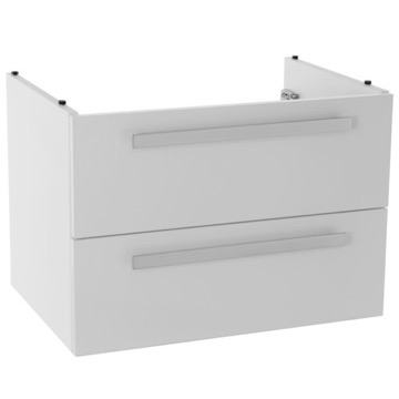 25 Inch Wall Mount Glossy White Bathroom Vanity Cabinet