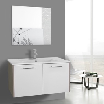 33 Inch White and Larch Canapa Bathroom Vanity Set, Wall Mounted, Mirror Included