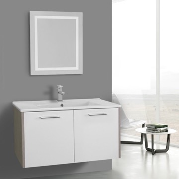 33 Inch White and Larch Canapa Bathroom Vanity Set, Wall Mounted, Lighted Mirror Included