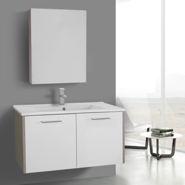 33 Inch Glossy White and Larch Canapa Bathroom Vanity Set, Wall Mounted, Medicine Cabinet Included