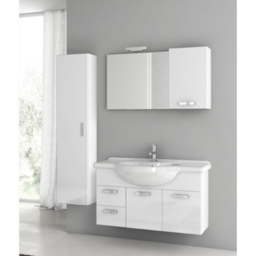 39 Inch Glossy White Bathroom Vanity Set
