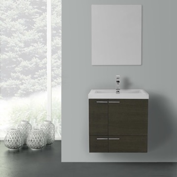 23 Inch Grey Oak Bathroom Vanity with Fitted Ceramic Sink, Wall Mounted, Mirror Included