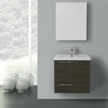 23 Inch Grey Oak Bathroom Vanity with Fitted Ceramic Sink, Wall Mounted, Medicine Cabinet Included