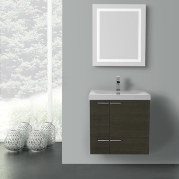23 Inch Grey Oak Bathroom Vanity with Fitted Ceramic Sink, Wall Mounted, Lighted Mirror Included