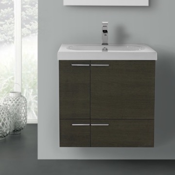 23 Inch Grey Oak Bathroom Vanity with Fitted Ceramic Sink, Wall Mounted