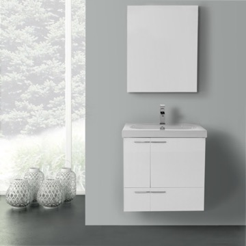 23 Inch Glossy White Bathroom Vanity with Fitted Ceramic Sink, Wall Mounted, Medicine Cabinet Included