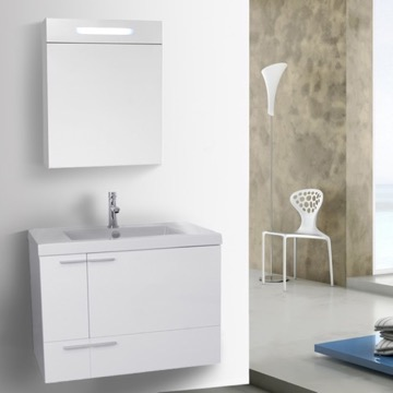31 Inch Glossy White Bathroom Vanity with Fitted Ceramic Sink, Wall Mounted, Lighted Medicine Cabinet Included