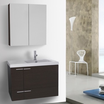 31 Inch Wenge Bathroom Vanity with Fitted Ceramic Sink, Wall Mounted, Medicine Cabinet Included