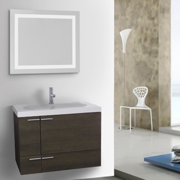 31 Inch Grey Oak Bathroom Vanity with Fitted Ceramic Sink, Wall Mounted, Lighted Mirror Included