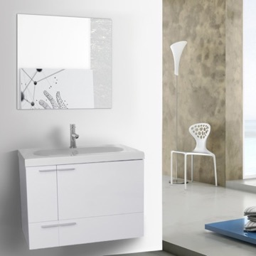 31 Inch Glossy White Bathroom Vanity with Fitted Ceramic Sink, Wall Mounted, Mirror Included