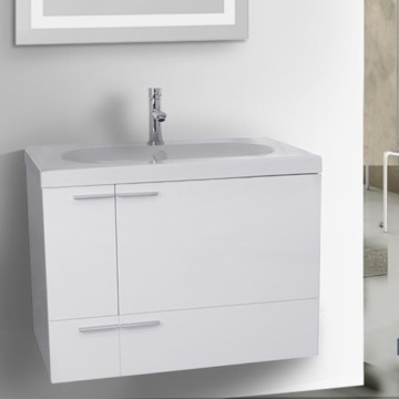 31 Inch Glossy White Bathroom Vanity with Fitted Ceramic Sink, Wall Mounted