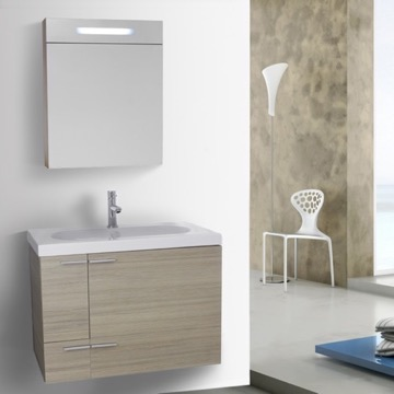 31 Inch Larch Canapa Bathroom Vanity with Fitted Ceramic Sink, Wall Mounted, Lighted Medicine Cabinet Included