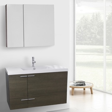 39 Inch Grey Oak Bathroom Vanity with Fitted Ceramic Sink, Wall Mounted, Medicine Cabinet Included