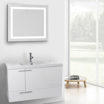 39 Inch Glossy White Bathroom Vanity with Fitted Ceramic Sink, Wall Mounted, Lighted Mirror Included