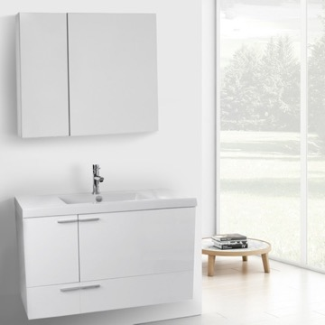 39 Inch Glossy White Bathroom Vanity with Fitted Ceramic Sink, Wall Mounted, Medicine Cabinet Included