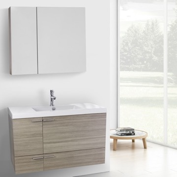 39 Inch Larch Canapa Bathroom Vanity with Fitted Ceramic Sink, Wall Mounted, Medicine Cabinet Included