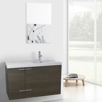 39 Inch Grey Oak Bathroom Vanity with Fitted Ceramic Sink, Wall Mounted, Mirror Included