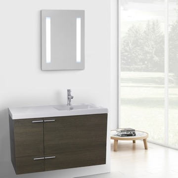 39 Inch Grey Oak Bathroom Vanity with Fitted Ceramic Sink, Wall Mounted, Lighted Mirror Included