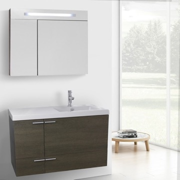 39 Inch Grey Oak Bathroom Vanity with Fitted Ceramic Sink, Wall Mounted, Lighted Medicine Cabinet Included