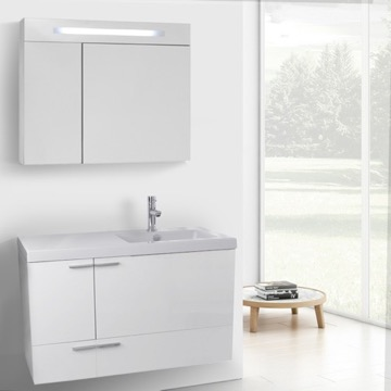 39 Inch Glossy White Bathroom Vanity with Fitted Ceramic Sink, Wall Mounted, Lighted Medicine Cabinet Included