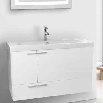 39 Inch Glossy White Bathroom Vanity with Fitted Ceramic Sink, Wall Mounted