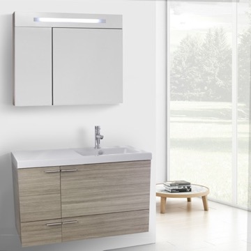 39 Inch Larch Canapa Bathroom Vanity with Fitted Ceramic Sink, Wall Mounted, Lighted Medicine Cabinet Included