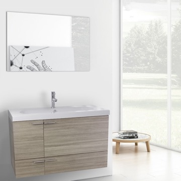 39 Inch Larch Canapa Bathroom Vanity with Fitted Ceramic Sink, Wall Mounted, Mirror Included