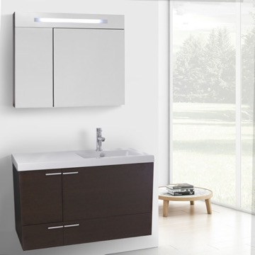 39 Inch Wenge Bathroom Vanity with Fitted Ceramic Sink, Wall Mounted, Lighted Medicine Cabinet Included