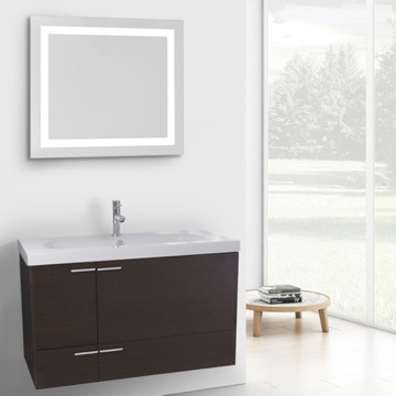 39 Inch Wenge Bathroom Vanity with Fitted Ceramic Sink, Wall Mounted, Lighted Mirror Included
