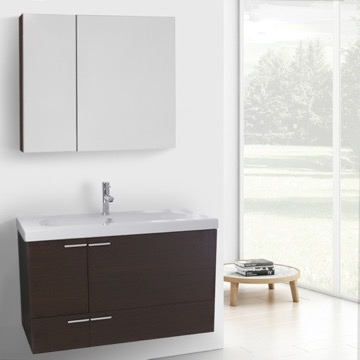 39 Inch Wenge Bathroom Vanity with Fitted Ceramic Sink, Wall Mounted, Medicine Cabinet Included