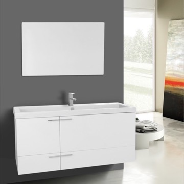 47 Inch Glossy White Bathroom Vanity Set, Large Basin Sink, Mirror Included