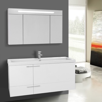 47 Inch Glossy White Bathroom Vanity with Fitted Ceramic Sink, Wall Mounted, Lighted Medicine Cabinet Included
