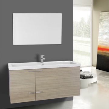 47 Inch Larch Canapa Bathroom Vanity Set, Large Basin Sink, Mirror Included