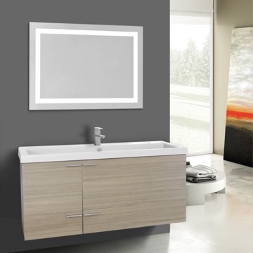 47 Inch Larch Canapa Bathroom Vanity Set, Large Basin Sink, Lighted Mirror Included