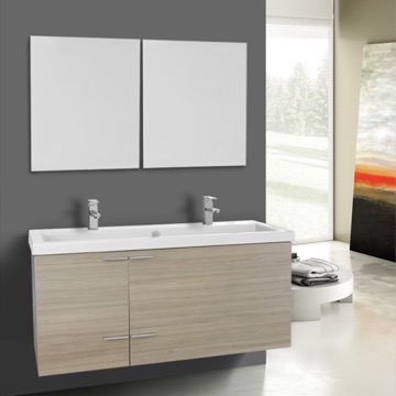 47 Inch Larch Canapa Bathroom Vanity Set, Double Sink, Mirrors Included