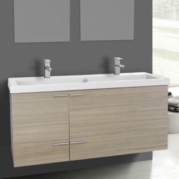 47 Inch Larch Canapa Bathroom Vanity Set, Double Sink
