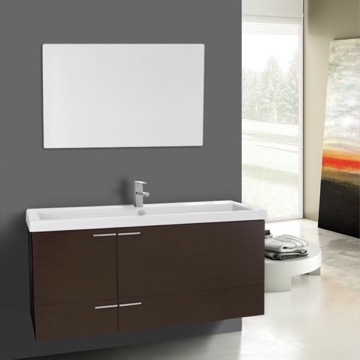 47 Inch Wenge Bathroom Vanity Set, Large Basin Sink, Mirror Included