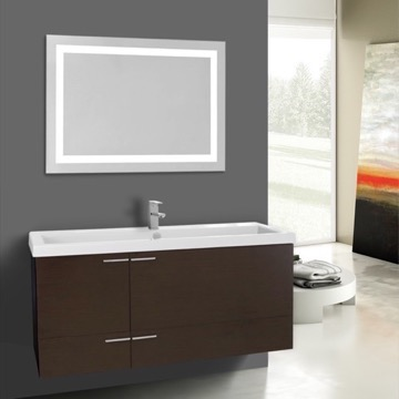 47 Inch Wenge Bathroom Vanity Set, Large Basin Sink, Lighted Mirror Included