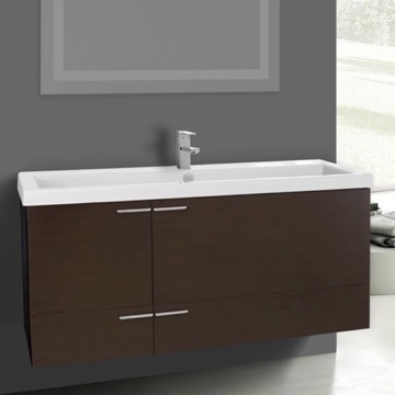 47 Inch Wenge Bathroom Vanity Set, Large Basin Sink