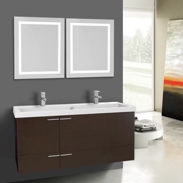 47 Inch Wenge Bathroom Vanity Set, Double Sink, Lighted Mirrors Included
