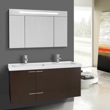 47 Inch Wenge Bathroom Vanity Set, Double Sink, Lighted Medicine Cabinet Included