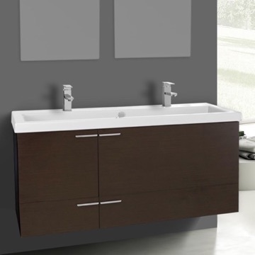 47 Inch Wenge Bathroom Vanity Set, Double Sink